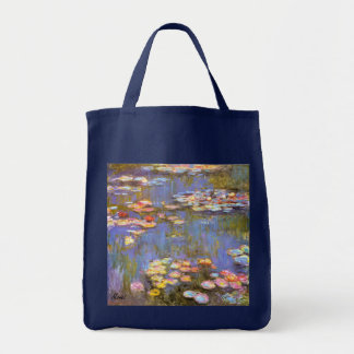 MONET Water Lilies 1916 bright hues grocery tote b Grocery Tote Bag