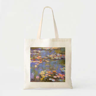 MONET Water Lilies 1916 brite hues grocery tote
