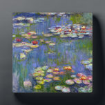"Monet Water Lilies 1916 Plaque<br><div class=""desc"">Monet Water Lilies 1916 plaque. Oil painting on canvas from 1916. French impressionist Claude Monet remains renowned and beloved for the water lily paintings that he created at his garden pond at Giverny. This specific water lily painting is from 1916 and reveals Monet's move towards increasing abstraction and more varied...</div>"