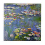 """Monet Water Lilies 1916 Tile<br><div class=""""desc"""">Monet Water Lilies 1916 tile. Oil painting on canvas from 1916. French impressionist Claude Monet remains renowned and beloved for the water lily paintings that he created at his garden pond at Giverny. This specific water lily painting is from 1916 and reveals Monet's move towards increasing abstraction and more varied...</div>"""