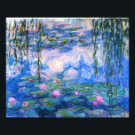 "Monet Water Lilies Print<br><div class=""desc"">Monet Water Lilies print. Oil painting on canvas from 1916. Monet painted his famous water lily pond obsessively during the final years of his career, drawing inspiration from the light of the sun and its shifting effect on the water and the aquatic flowers and foliage. This painting features a vibrant...</div>"