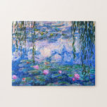 "Monet Water Lilies Puzzle<br><div class=""desc"">Monet Water Lilies puzzle. Oil painting on canvas from 1916. Monet painted his famous water lily pond obsessively during the final years of his career, drawing inspiration from the light of the sun and its shifting effect on the water and the aquatic flowers and foliage. This painting features a vibrant...</div>"