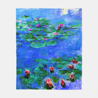 Monet - Water Lilies (red) Fleece Blanket