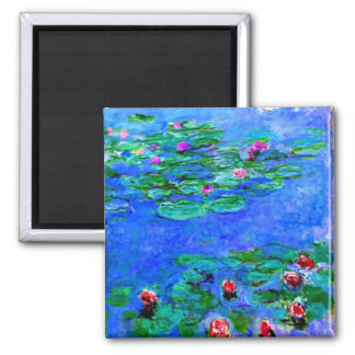 Monet - Water Lilies red Refrigerator Magnets