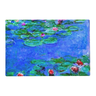 Monet - Water Lilies (red) Placemat at Zazzle