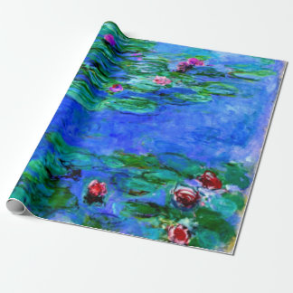 Monet - Water Lilies (red) Wrapping Paper