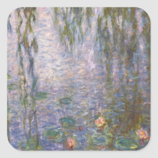 Monet Water Lilies Square Sticker