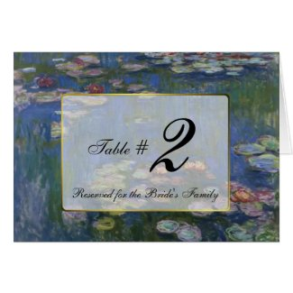 Monet Water Lilies Wedding Table Number Cards