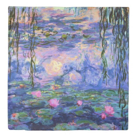Monet Water Lilies with Pond Reflections Duvet Cover