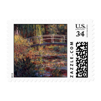MONET Water Lily Pond ROSE Postcard Postage