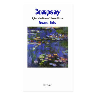 Monet Waterlilies Custom Earring Display/Business  Double-Sided Standard Business Cards (Pack Of 100)