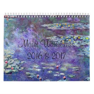 Monet WaterLillies 2 Year 2016 2017 Calendar
