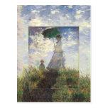 Monet - Woman With a Parasol Postcard