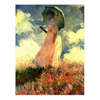 Monet Woman With Sunshade Postcard