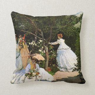 Monet Women in the Garden Throw Pillow