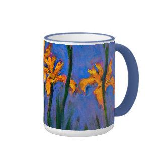 Monet- Yellow Irises Ringer Coffee Mug