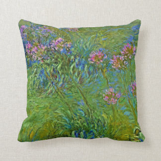 Monet's Agapanthus Flowers Throw Pillow
