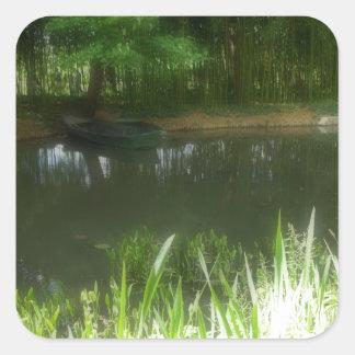 Monet's Boat Square Sticker