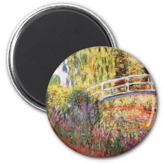 Monet's Bridge and Flowers 2 Inch Round Magnet