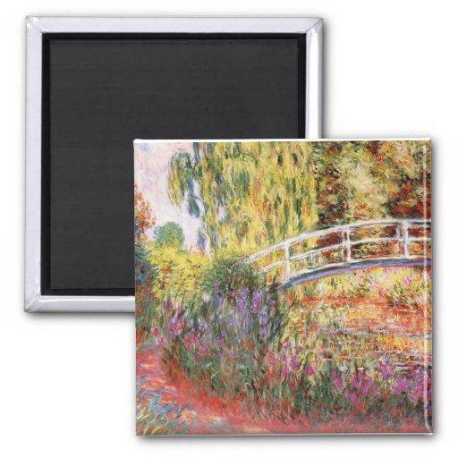 Monet's Bridge and Flowers 2 Inch Square Magnet