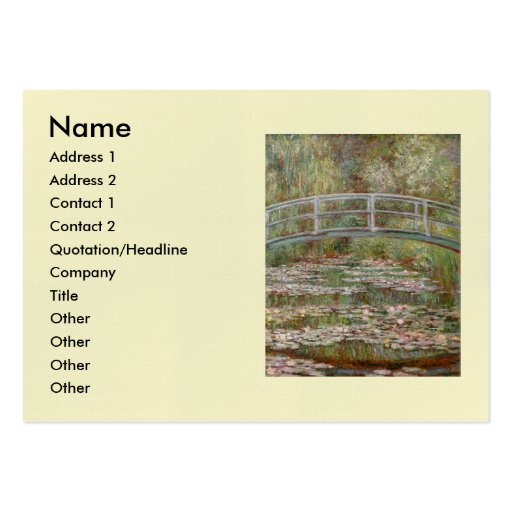 """Monet's """"Bridge Over a Pond of Water Lilies"""" 1899 Business Cards"""