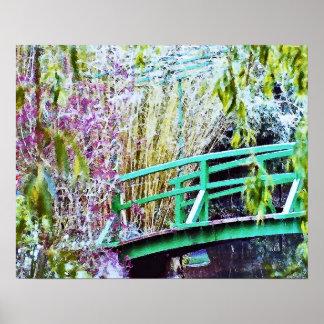 Monet's Bridge with Flowers Poster