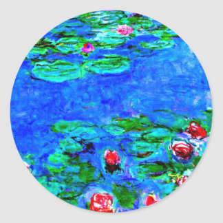 Monet's famous painting, Water Lilies (macro view) Classic Round Sticker