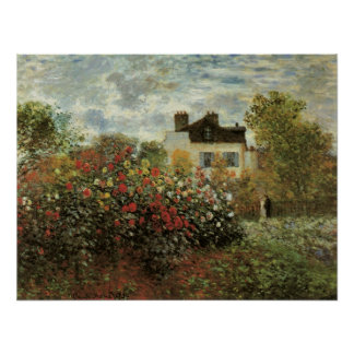 Monet's Garden at Argenteuil by Claude Monet Poster