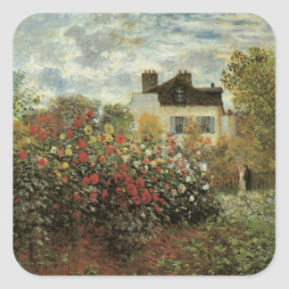 Monet's Garden at Argenteuil by Claude Monet Square Sticker