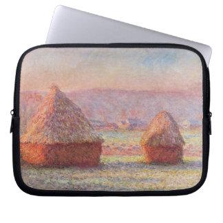 Monet's Haystacks, White Frost, Sunrise Computer Sleeve