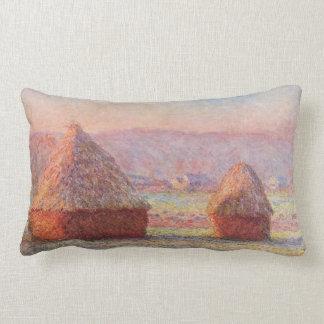 Monet's Haystacks, White Frost, Sunrise Lumbar Pillow