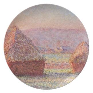 Monet's Haystacks, White Frost, Sunrise. Melamine Plate