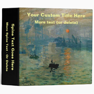 Monet's Impression Sunrise (soleil levant) - 1872 3 Ring Binder