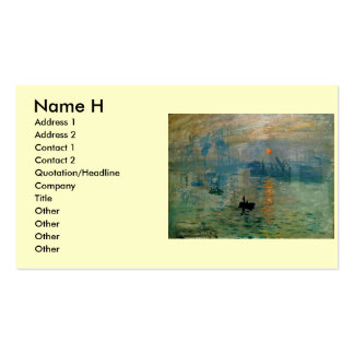 Monet's Impression Sunrise (soleil levant) - 1872 Double-Sided Standard Business Cards (Pack Of 100)