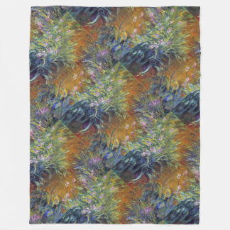 Monet's Irises Fleece Blanket