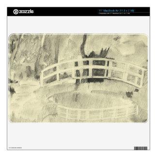 Monet's Japanese Bridge- Black and White MacBook Decal