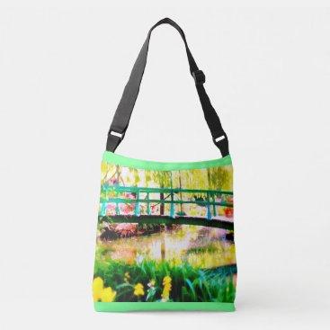 Beach Themed Monet's Japanese Garden Watercolor Crossbody Bag