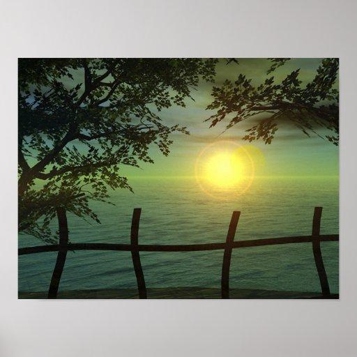 Monet's Sunset Poster