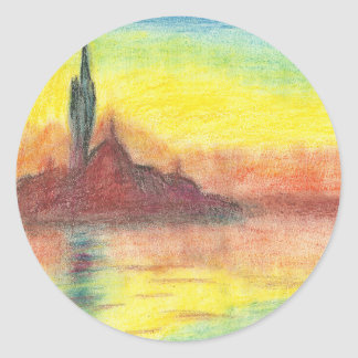 Monet's Twilight, Venice Classic Round Sticker