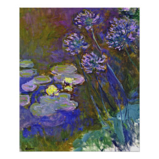 Monet's Water Lilies and Agapanthus Poster
