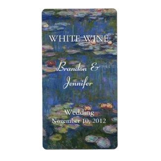 Monet's Water Lilies Wedding Wine Labels
