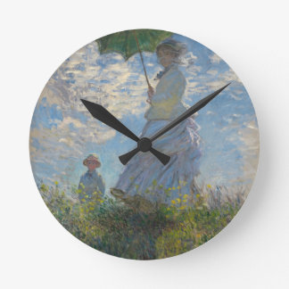 Monet's Woman with a parasol Round Clock