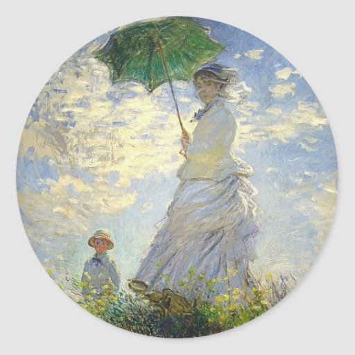 Monet's Woman with a Parasol (The Stroll / Walk) Round Stickers