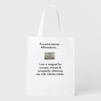 Money affirmation tote bags reusable grocery bag