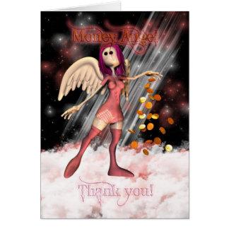 Money Angel Thank you Card with Cute Rag Doll