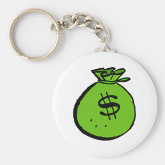 Money Bag Basic Round Button Keychain