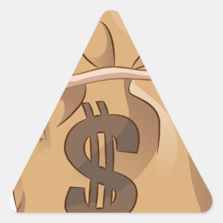 Money Bag Cartoon Icon Triangle Sticker