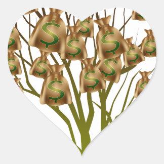 Money Bag Tree Icon Heart Sticker