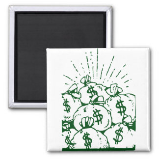 Money Bags! 2 Inch Square Magnet