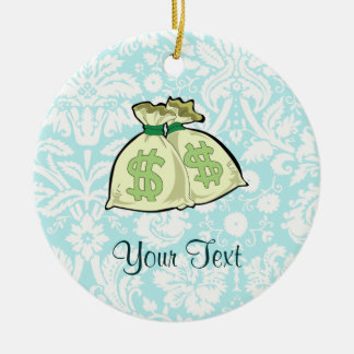 Money Bags; Cute Double-Sided Ceramic Round Christmas Ornament